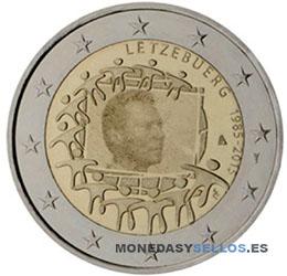 Moneda-2-€-Luxemburgo-2015Bandera